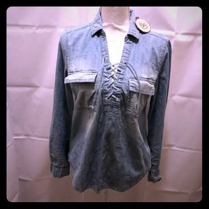NWT SO lace up chambray in front long sleeve top